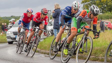 Riders travelling from Saxmundham to Leiston during the Tour of Britain. Picture: CARON GILL