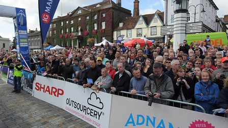 Stage 7 of the Tour of Britain cycling race sets off from Angel Hill in Bury St Edmunds 2011. Pictur