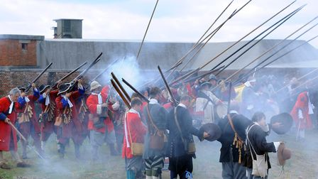 The thrilling re-enactment of the Battle of Landguard between the Dutch and English at Landguard Fo