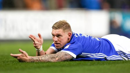 Sharp shooter Martyn Waghorn celebrates giving Town a 2-1 lead with a Call of Duty tribute. Pictu