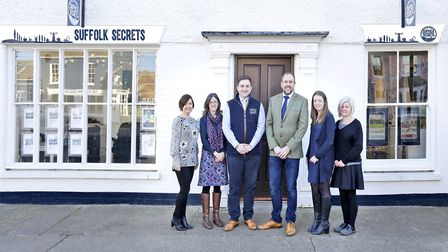 Members of the team at Suffolk Secrets outside the holiday lettings agency's new offices in Aldeburg