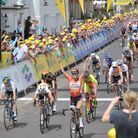 Elizabeth Armitstead pictured at the end of the Women's Tour when it came to Suffolk, finishing in A