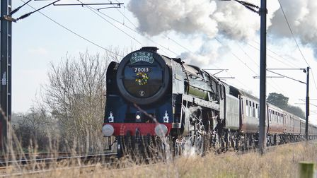Oliver Cromwell approaching Needham Market. Picture: PETER BEARD