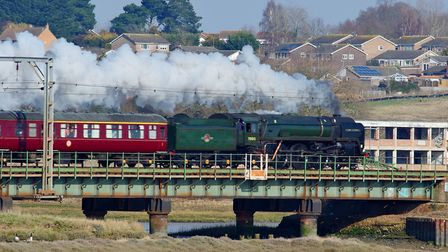 Oliver Cromwell Train steaming through Brantham. Picture: PETER CUTTS