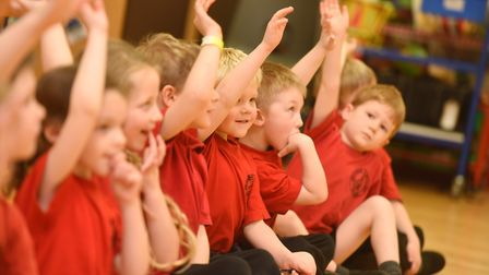 The children were invited to ask Ms Smith questions after she gave an assembly. Picture: GREGG BROWN