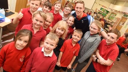 Athlete Joe Roebuck working with children from Coldfair Green Community Primary School as part of th