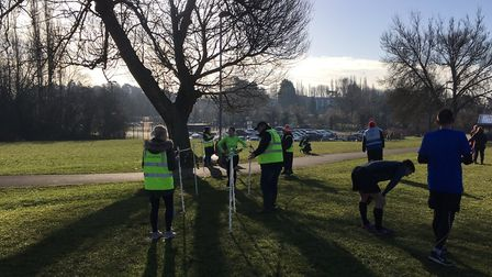 The finish funnel at the Corby parkrun, in the shadow of some early morning winter's sunshine last S