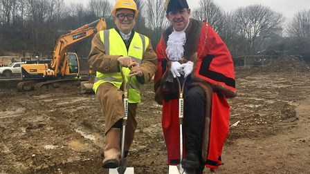 Developer Mike Spenser-Morris and mayor Terry Clements turn the sod on the development. Picture: MIC