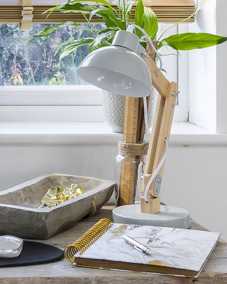 Photo of corner of Liz Earle's home office with her personalised desk top accessories. Picture cre