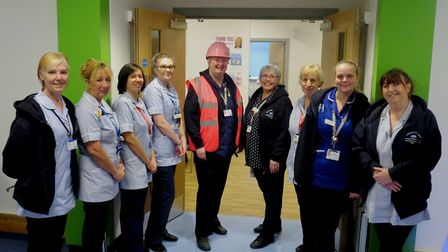 Staff, including Sue Warner, outpatients sister, centre left, in the Gainsborough Wing at Colchester
