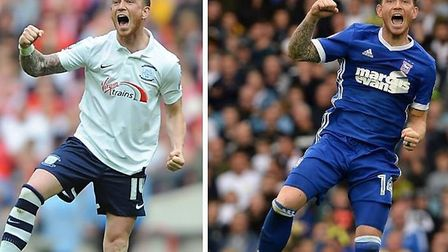 Joe Garner celebrates for Preston North End and Ipswich Town in 2015 and 2017 respectively. Photos: