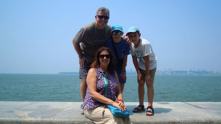 John Massey with wife Michelle and sons Theo and Andrew. Picture: FAMILY