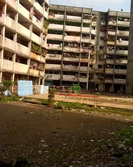 One of the slums in Mumbai, India, where John Massey is working as a teacher. Picture: JOHN MASSEY
