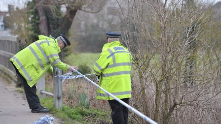 Detectives carrying out investigation work at the scene. Picture: SARAH LUCY BROWN