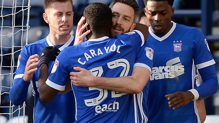 Mustapha Carayol is congratulated on scoring at Deepdale during the first half Picture Pagepix