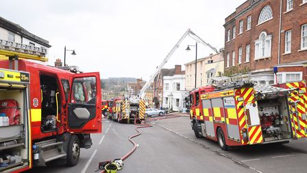 Seven pumps attended the first fire on Halstead High Street. Picture: GREGG BROWN