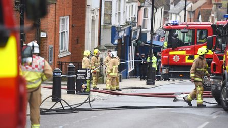 Officers on the scene of Friday's fire. Picture: GREGG BROWN