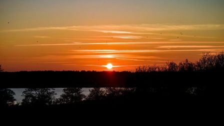 Frosty sunset over the River Orwell. Picture: CARL HARLOTT