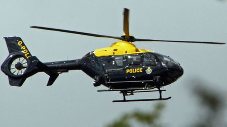 The police helicopter joined the search near the Orwell Bridge. Picture: ARCHANT LIBRARY