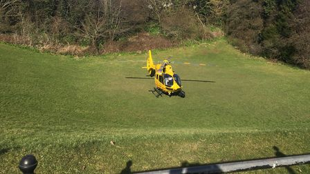 An air ambulance has landed near West Suffolk College in Bury St Edmunds this afternoon. Picture: MI
