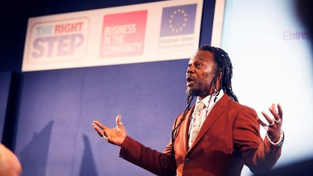 Levi Roots, pictured speaking at the BITC Right Step event, will be attending the Suffolk Coast Busi