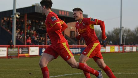 Jamie Griffiths and John Sands celebrate Needham's second goal. Photos: BEN POOLEY