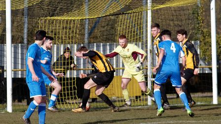 GOAL David Kempson taps home Stowmarket's opening goal against Ipswich Wanderers. Photo: PAUL VOLLER