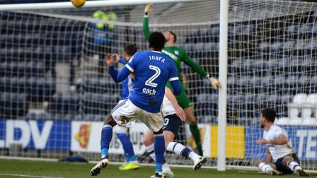 Dominic Iorfa with a first half chance at Preston Picture Pagepix