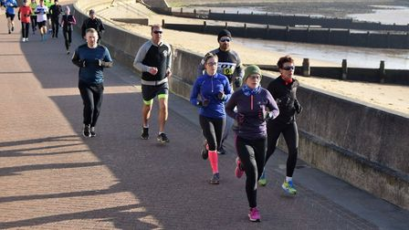 Female runners into their stride along the promenade at Harwich. Pictures: HARWICH PARKRUN FACEBOOK