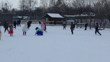 Pupils enjoy the snow at Ravenswood Primary School. Picture: RAVENSWOOD PRIMARY SCHOOL