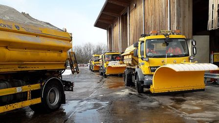 Suffolk's gritting lorries had snow ploughs fitted before heading out along secondary routes. Pictur