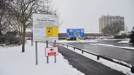 Ipswich Hospital in the snow on February 28. Picture: SARAH LUCY BROWN
