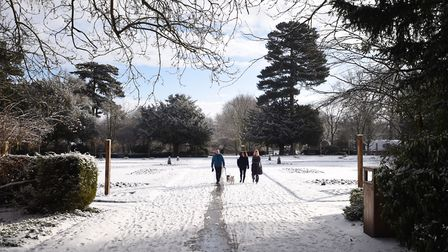 Bury St Edmunds is covered in a blanket of snow. Picture: GREGG BROWN