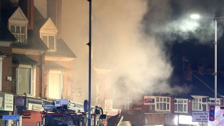 """The scene on Hinckley Road in Leicester, after a """"major incident"""" was declared by police. Picture: A"""