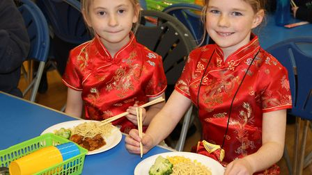 The pupils also dressed in Chinese clothing and tried Chinese food with chopsticks. Picture: ROISIN