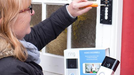 Installation of a Ring doorbell - one of 50 being distributed to homes around Ipswich. Picture: SUFF