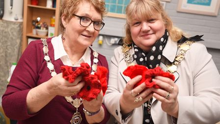 Sudbury Town Council are launching their knit a poppy campaign for this year's remembrance. Left to