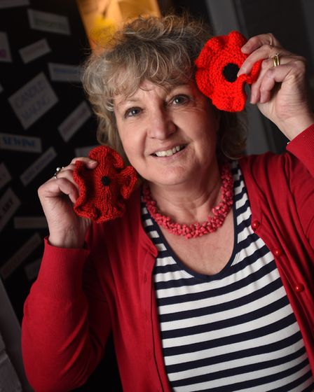Sudbury Town Council are launching their knit a poppy campaign for this year's remembrance. Pictured