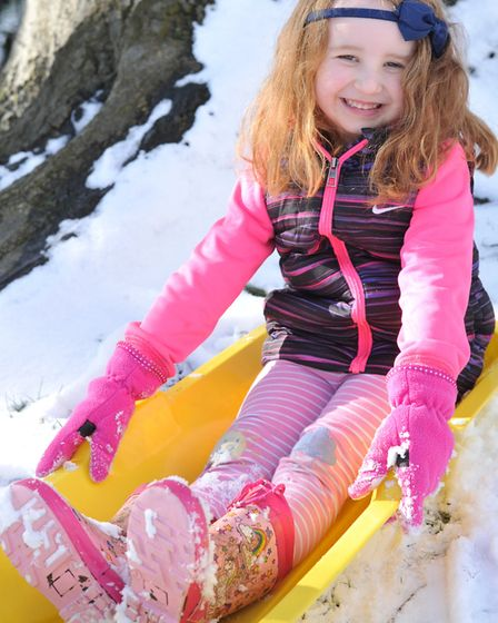 Maria Gornall having fun in the snow. Picture: SARAH LUCY BROWNN