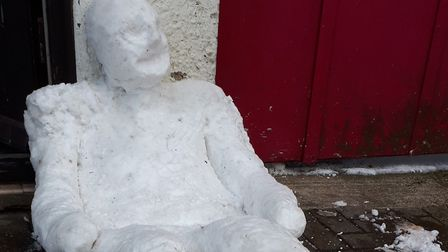 One of the three 'homeless' snowmen. Picture: CHRIS NEWSON