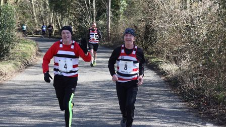 The Saint Edmund Pacers duo of David Swales, left, an over-50 veteran, and George Wicker, an over-60