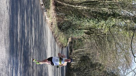 Mark Newton, of Springfield Striders, on his way to victory in the Tarpley 10-mile road race. Pictur