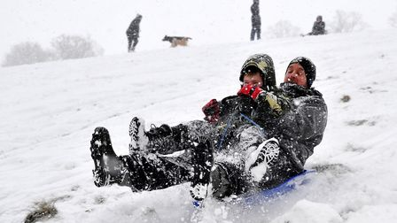 Christchurch Park in Ipswich was awash with families enjoying the snow with their sledges. SARAH LUC