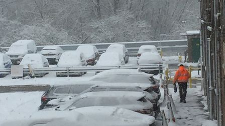 The car park at malt firm Muntons as the 'Beast from the East' struck on Wednesday, February 28. Pic