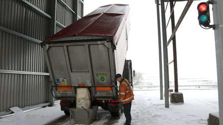 A lorry begins unloading at malt firm Muntons as the 'Beast from the East' struck on Wednesday, Febr
