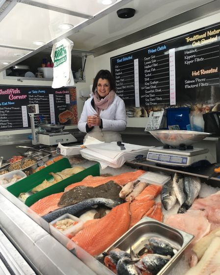 Sharon Carrigan at her Carmichael's fish stall on Bury St Edmunds Market