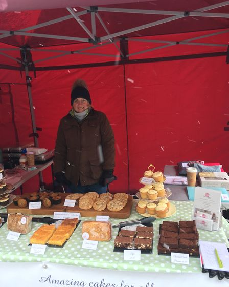Becky Isaacson at her Cake Creations by Becky stall at Bury St Edmunds Market
