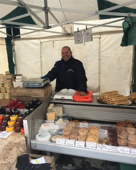 Charlie Gould at his The Cheese and Pie Man stall on Bury St Edmunds Market