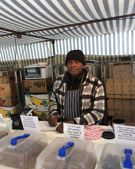 Thomas Benjamin at his T&S Foods stall on Bury St Edmunds market