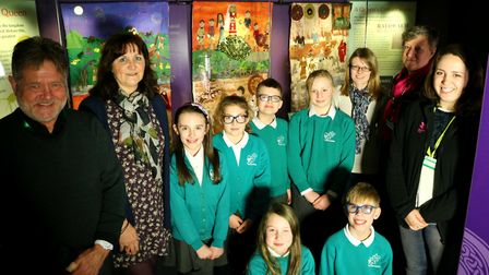 Youngsters from Melton Primary School with staff and volunteers at Sutton Hoo at the opening of the